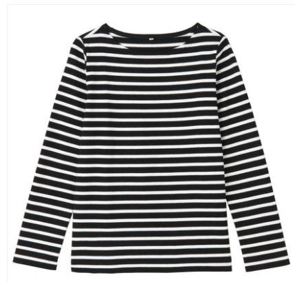 无印良品 女式粗棉线条纹长袖T恤