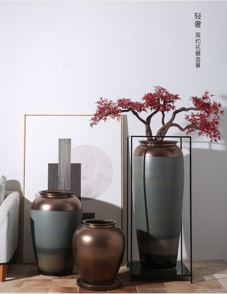 新中式落地大花瓶灰金色陶罐客厅摆件