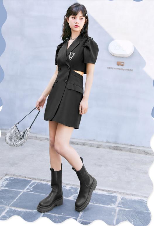 2021夏甜美连衣裙收腰新款女装镂空西装设计感女