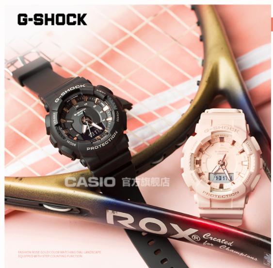 casio旗舰店GMA-S130PA学生运动防水女手表