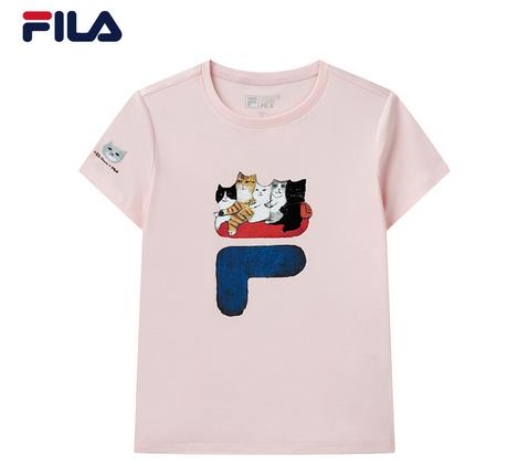 斐乐情侣短袖T恤2021夏新款猫咪插画上衣男女